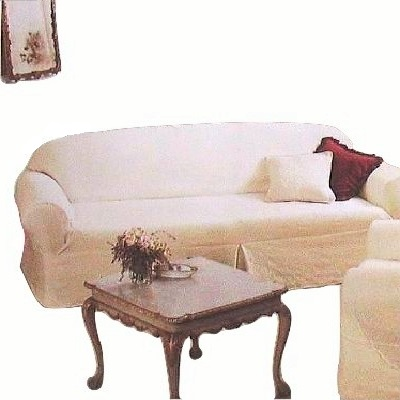 Farmhouse White Sofa Slipcover Shabby Chic Quilted Rachel