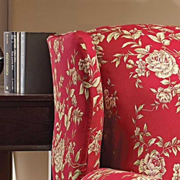 floral slipcovers for wingback chairs | WING CHAIR Slipcover Floral Burgundy-Red Wingback Sure Fit ...