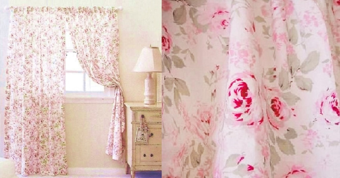 Rachel Ashwell CURTAIN PANEL Rosalie Pink Floral Simply Shabby Chic