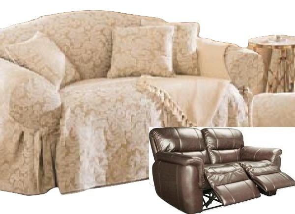 Dual Reclining Loveseat Slipcover Damask Golden Taupe Sure