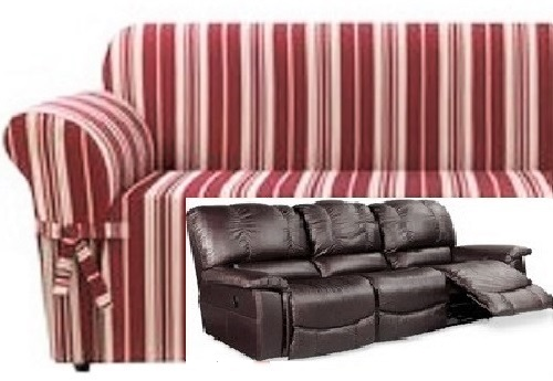 Dual Reclining Sofa Slipcover City Stripe Burgundy Red