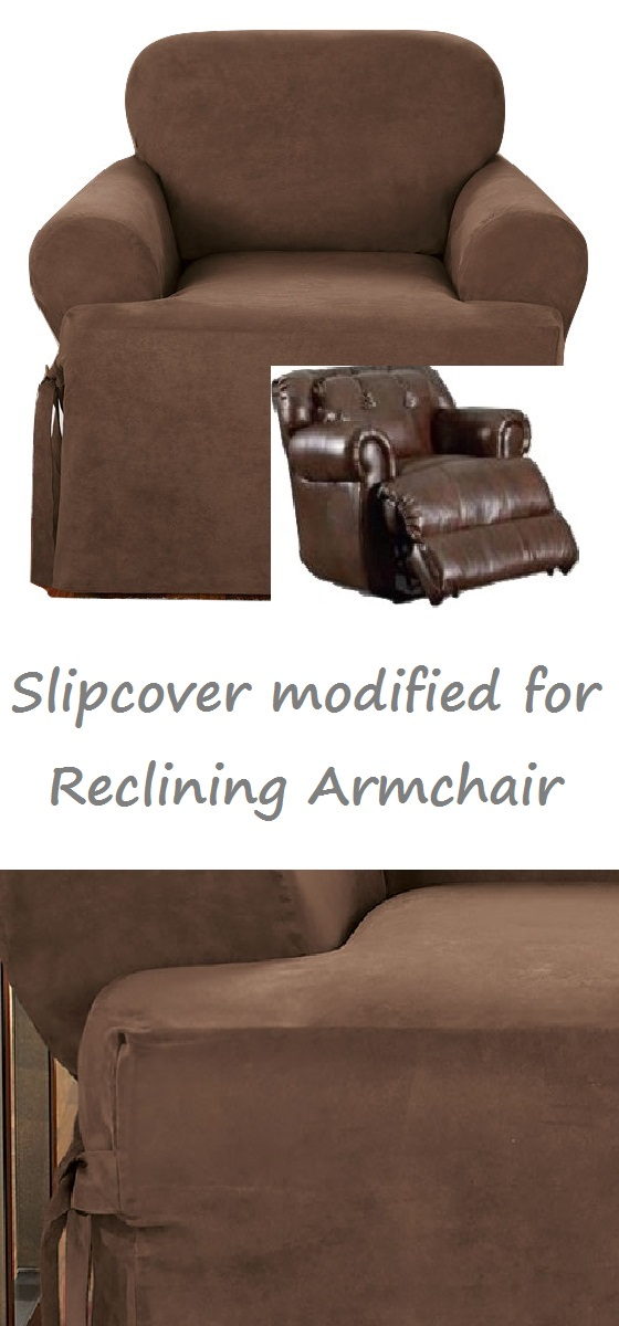Reclining Chair Slipcover T Cushion Suede Chocolate Sure