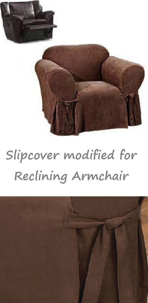 sc 1 st  Faded Chic & Reclining CHAIR Slipcover Suede Chocolate Sure Fit Armchair Cover