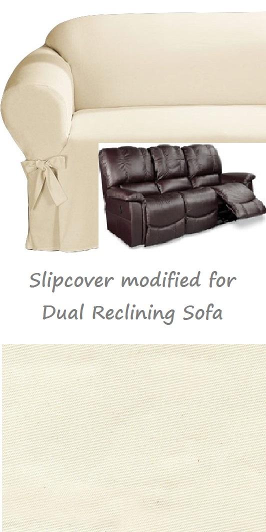 Dual Reclining Sofa Slipcover Cotton Cream Sure Fit