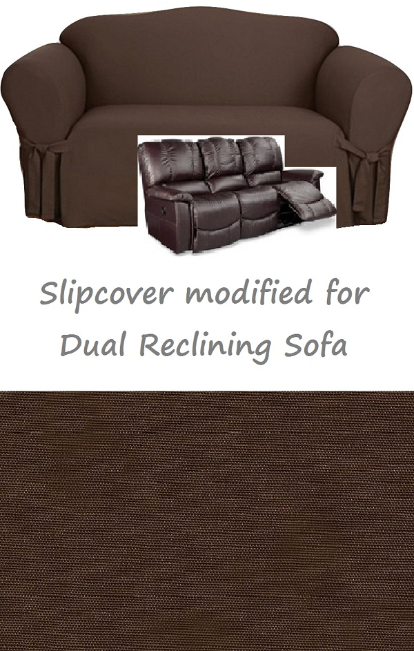 Dual Reclining Sofa Slipcover Cotton Chocolate Sure Fit