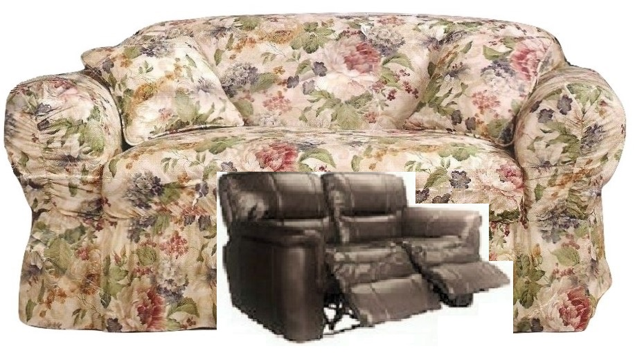 Dual Reclining Loveseat Slipcover Shabby Victorian Floral