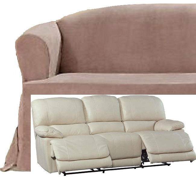 Dual Reclining Sofa Slipcover T Cushion Suede Taupe Sure