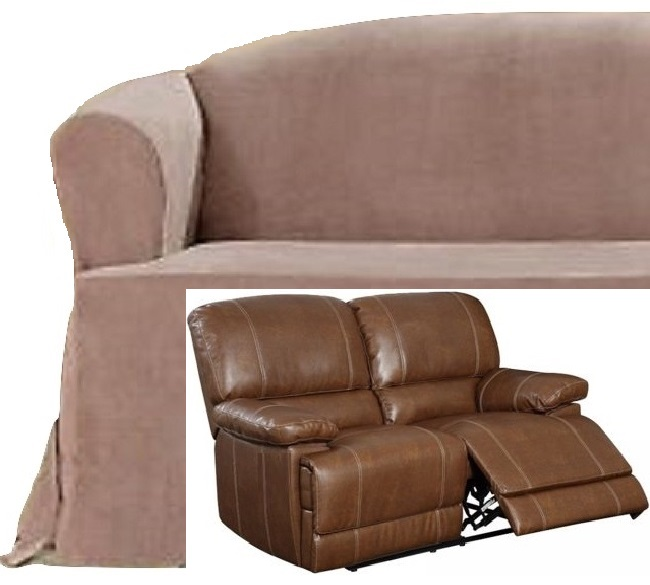 Dual Reclining Loveseat Slipcover T Cushion Suede Taupe