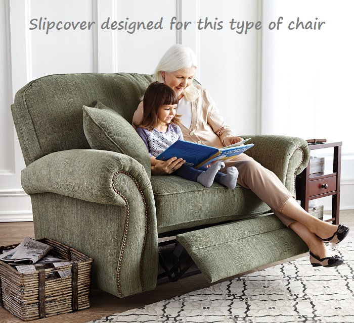 & Reclining SNUGGLER CHAIR Slipcover Contrast Taupe Linen Wide Cuddler islam-shia.org