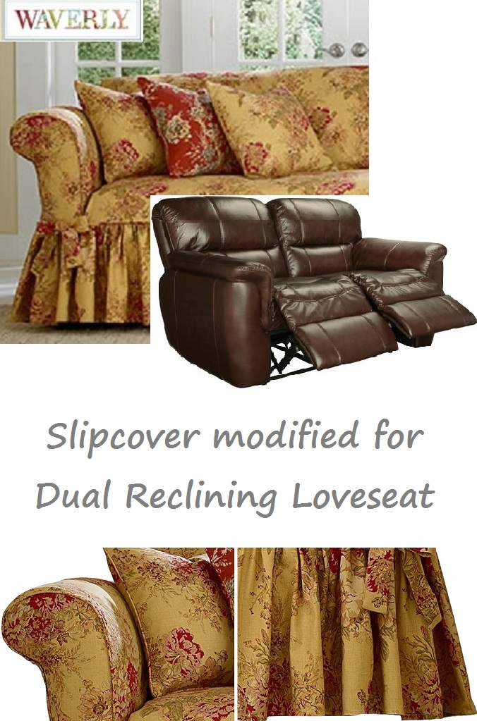 Dual Reclining Loveseat Slipcover Waverly Ballad Bouquet