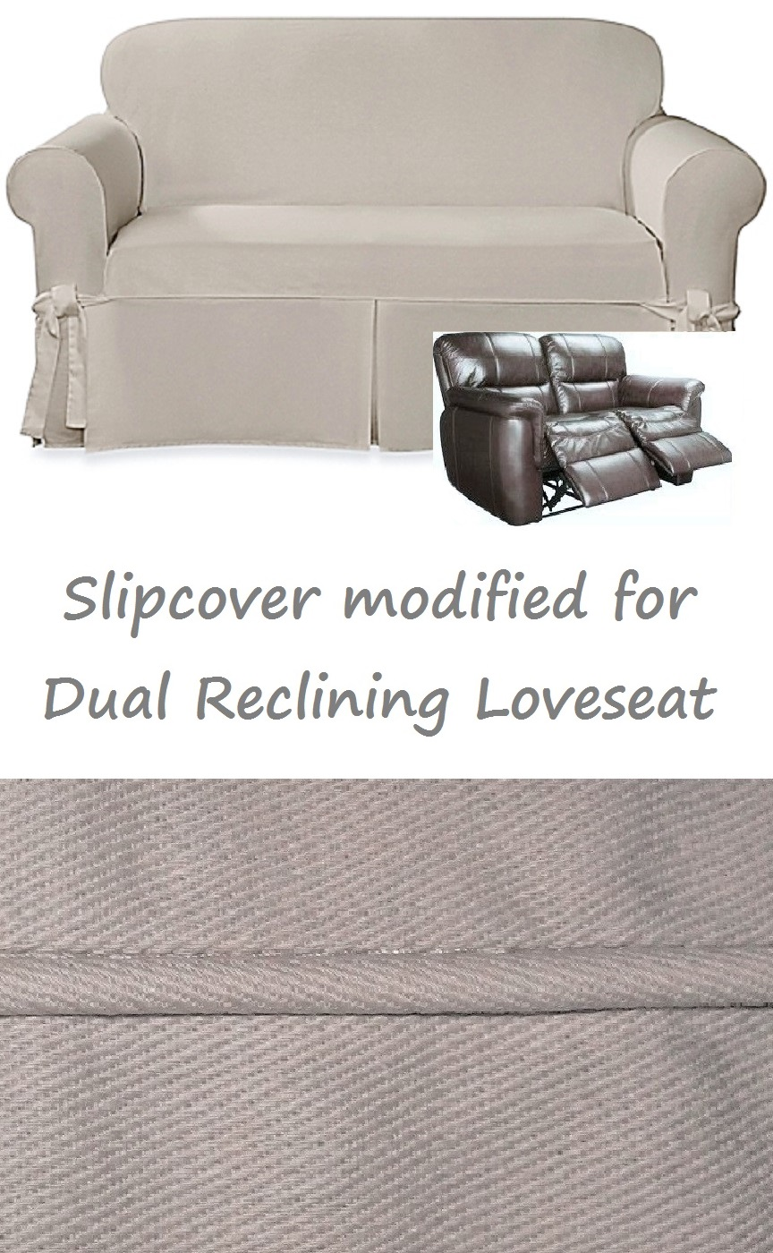 Dual Reclining Loveseat Slipcover Farmhouse Twill Taupe