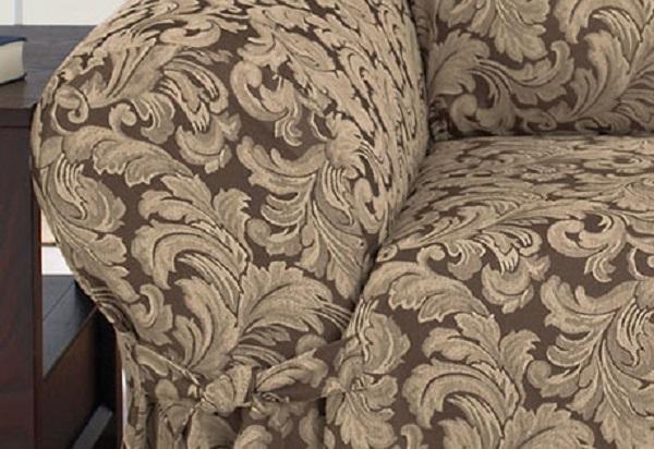 Dual Reclining Sofa Slipcover Damask Chocolate Brown Sure