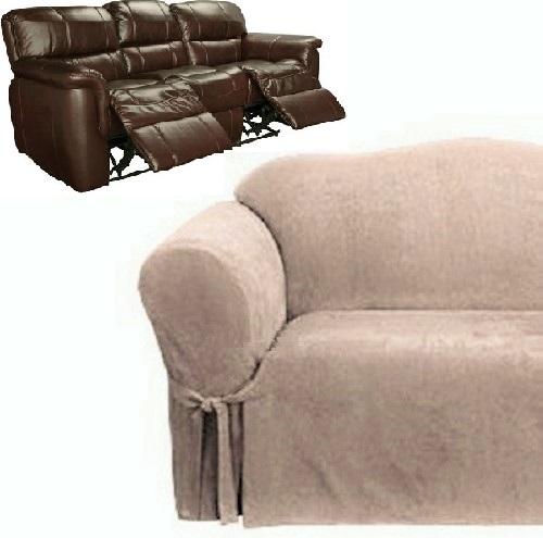 Dual Reclining Sofa Slipcover Suede Taupe Surefit Recliner