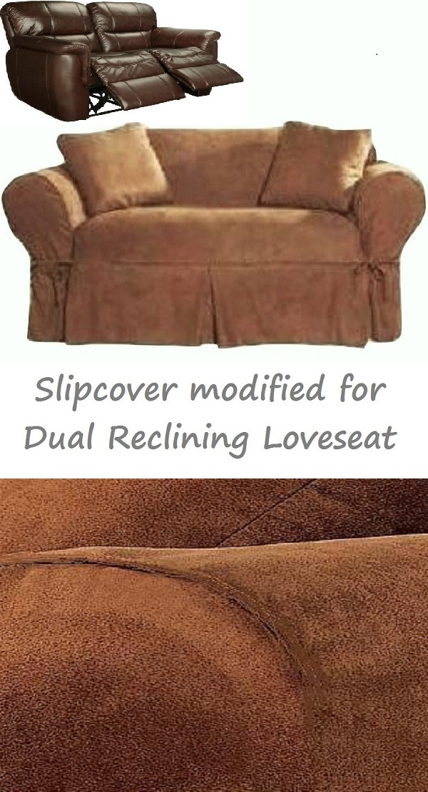 Dual Reclining Loveseat Slipcover Heavy Suede Saddle Brown