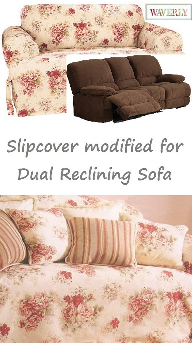 Dual Reclining Sofa Slipcover T Cushion Waverly Vintage