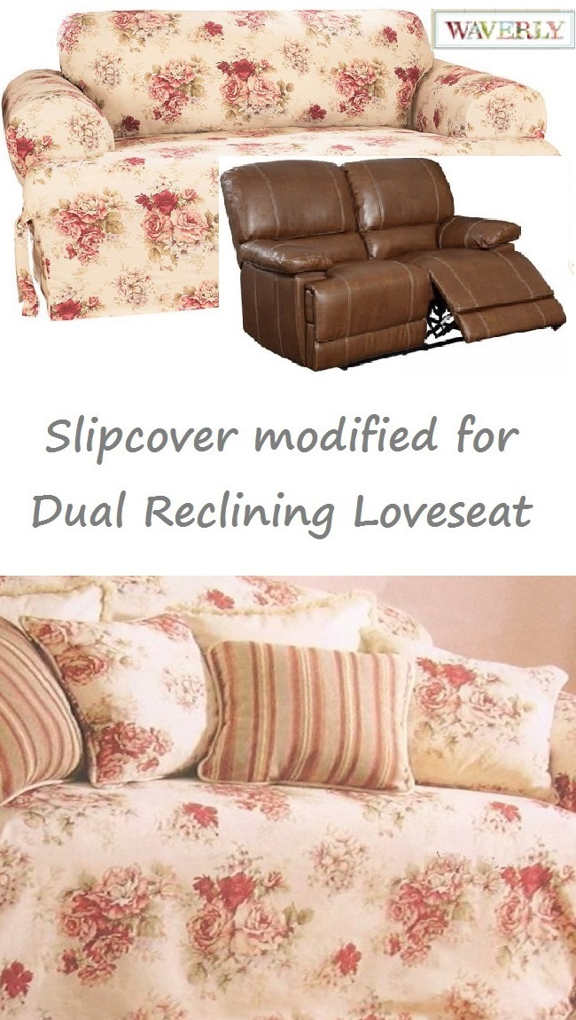 Dual Reclining Loveseat Slipcover T Cushion Waverly