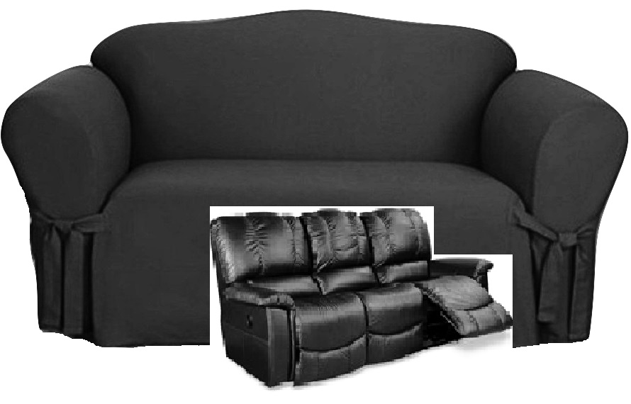 Dual Reclining Sofa Slipcover Black Cotton Sure Fit
