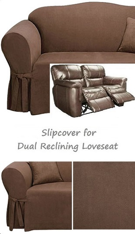 Dual Reclining Loveseat Slipcover Suede Chocolate Sure Fit