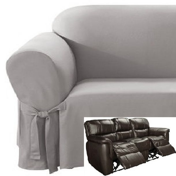 Dual Reclining Sofa Slipcover Cotton Gray Sure Fit