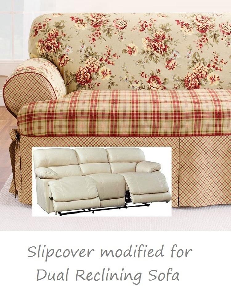 Dual Reclining Sofa Slipcover T Cushion Shabby Toile Red