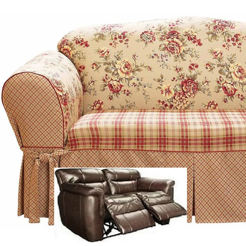 Dual Reclining Loveseat Slipcover Shabby Toile Red Sure