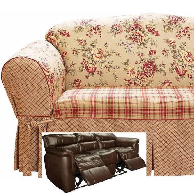 Dual Reclining Sofa Slipcover Shabby Toile Red Sure Fit Couch Cover