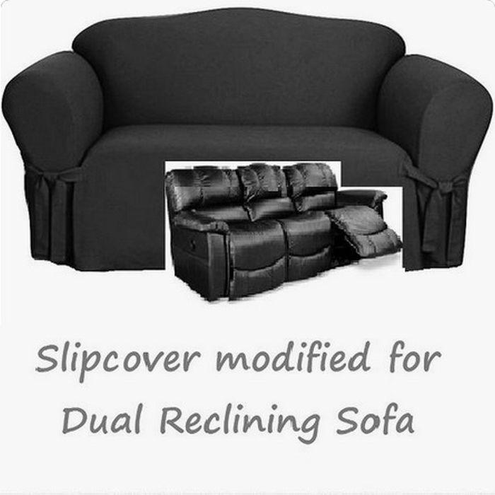 Dual Reclining Sofa Slipcover Black Cotton Sure Fit