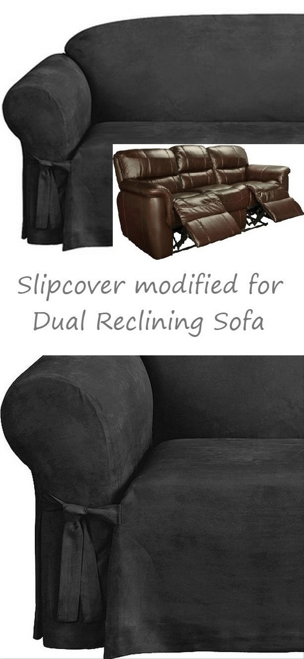 Reclining SOFA Slipcover Black Suede 3-Seater Dual ...