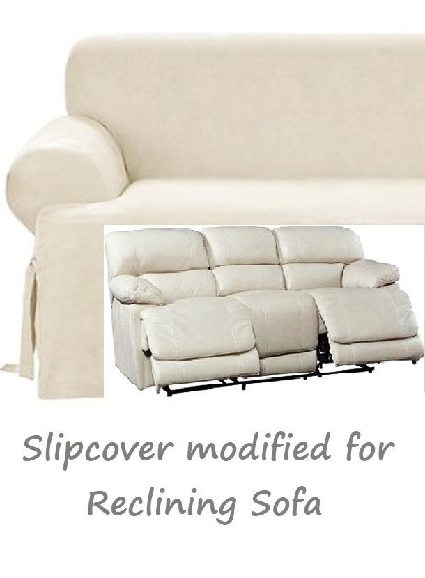 Dual Reclining Sofa Slipcover T Cushion Suede Cream Sure