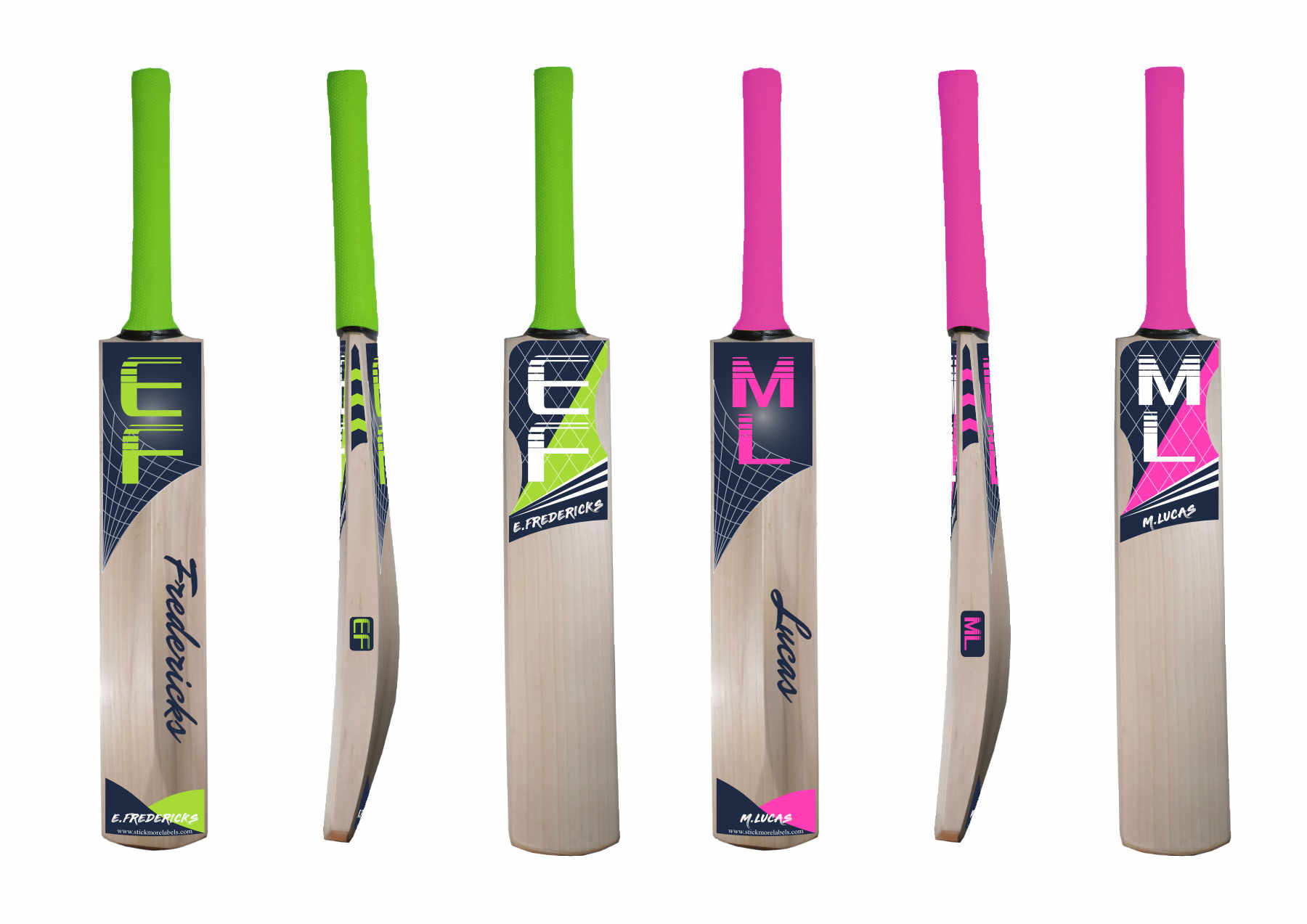 Personalised cricket bat stickers vector