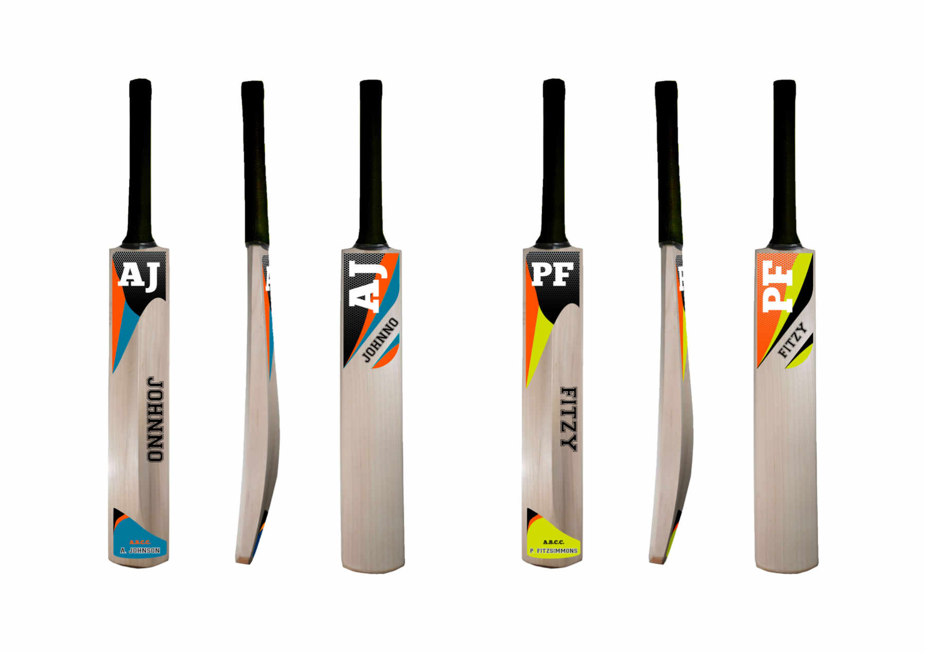Personalised cricket bat stickers mesh design