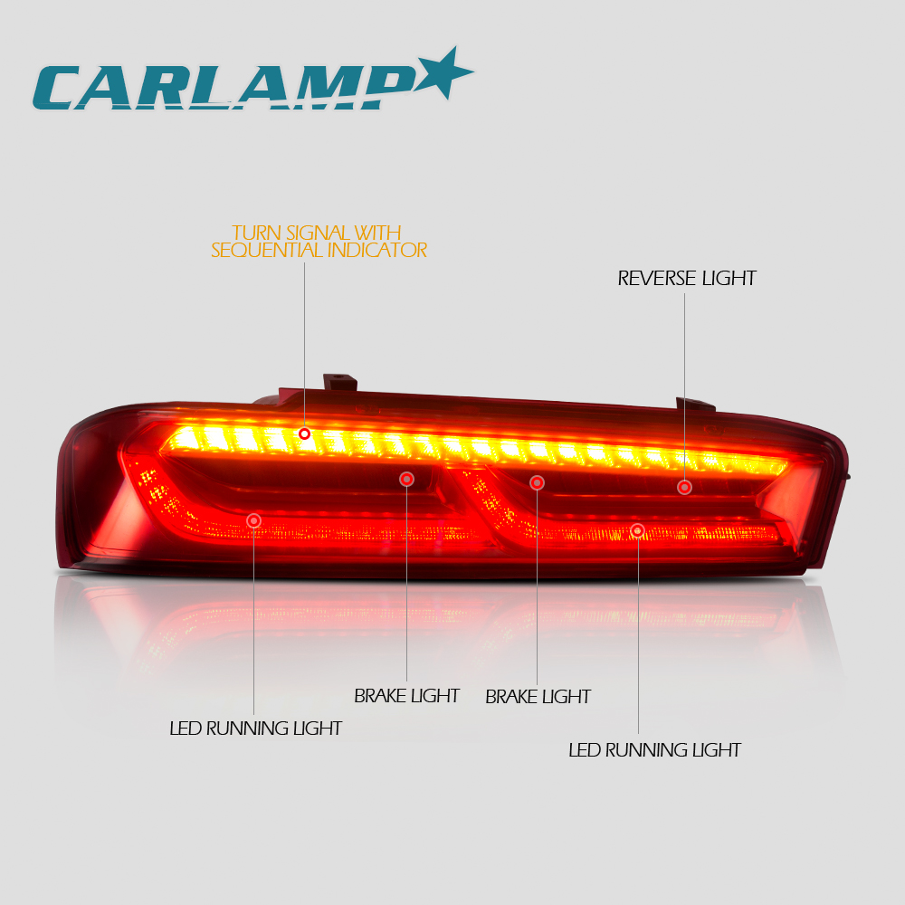 Tail Lights For Chevrolet Camaro 2016 2018 Red Lens Light