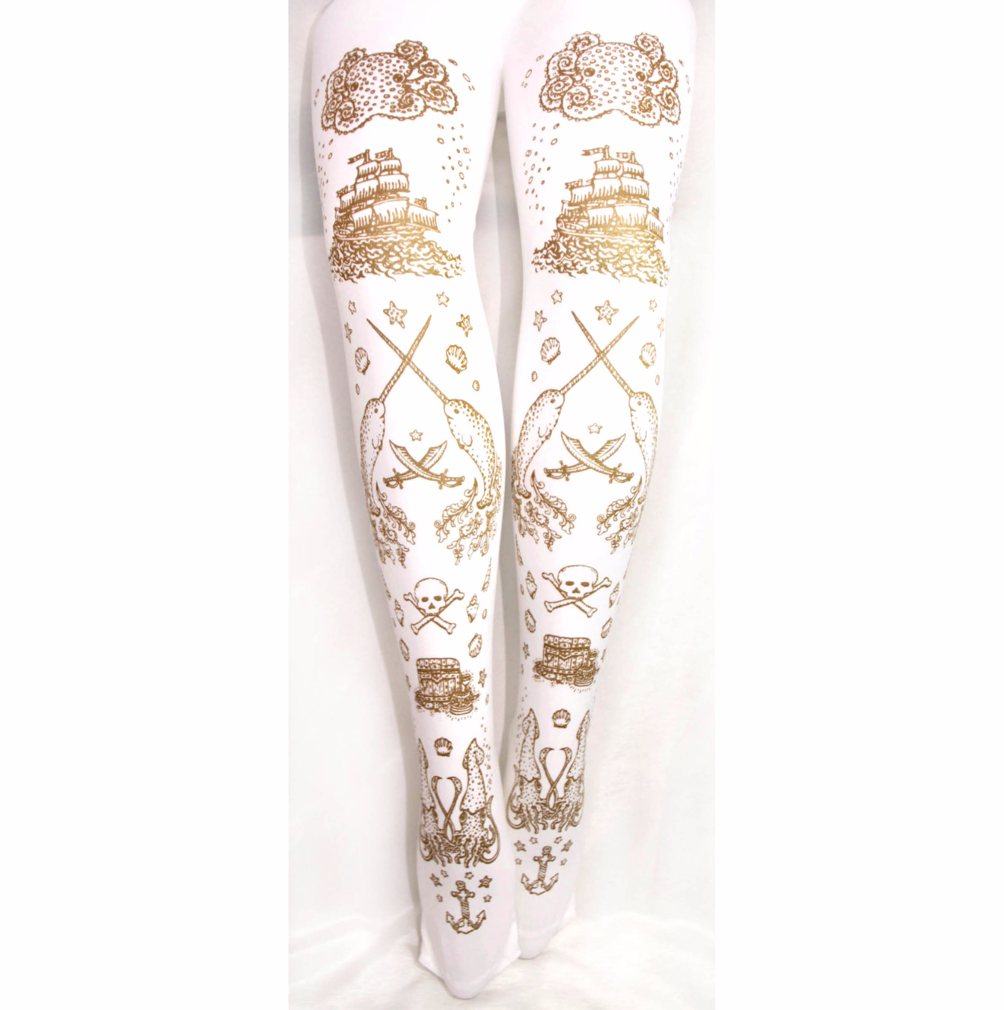 ee671e99e84 Narwhal Printed Tights Gold on White Pirate Tattoo Print Sailor Lolita ...