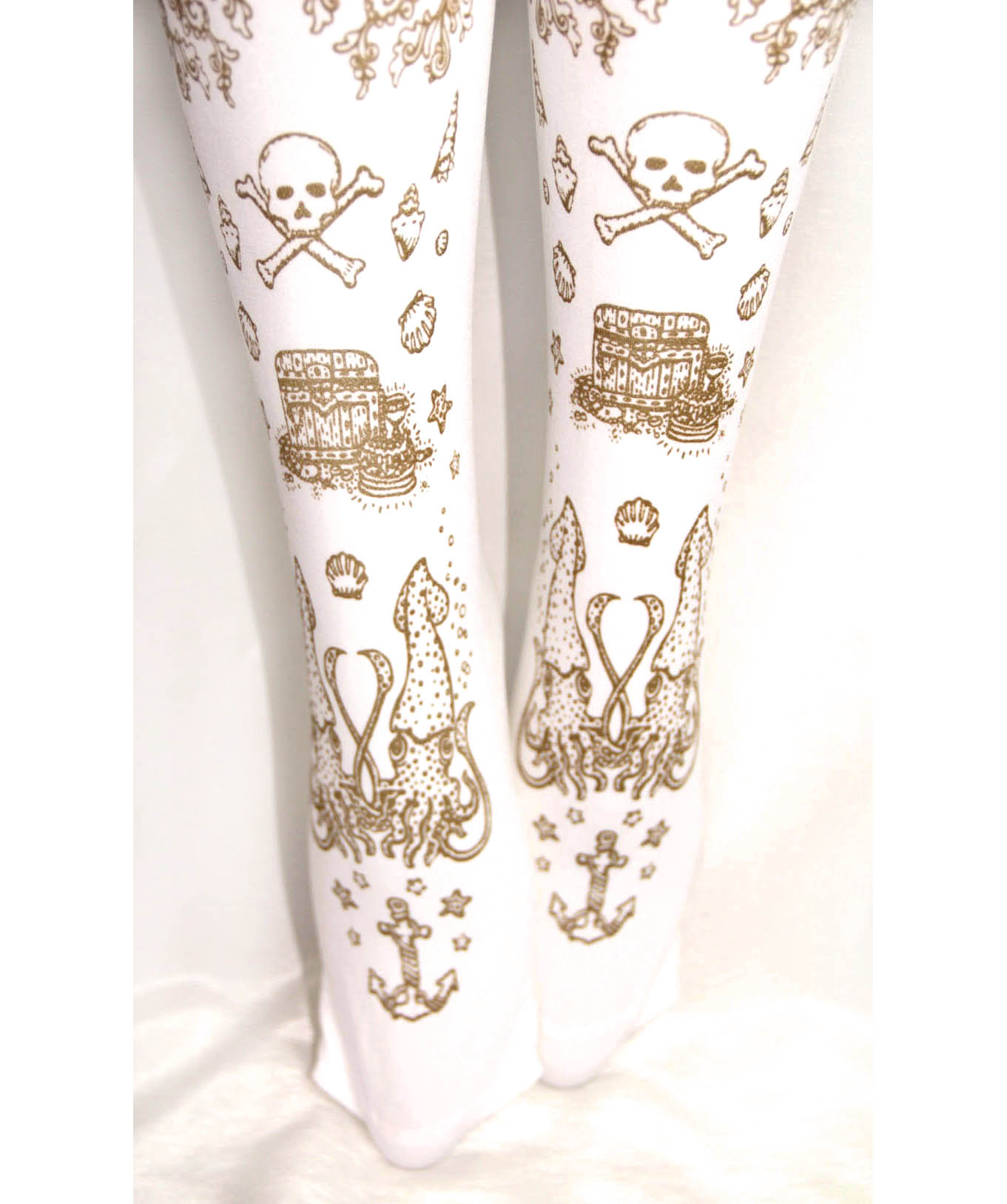 603dadec20c ... Narwhal Printed Tights Gold on White Pirate Tattoo Print Sailor Lolita  ...