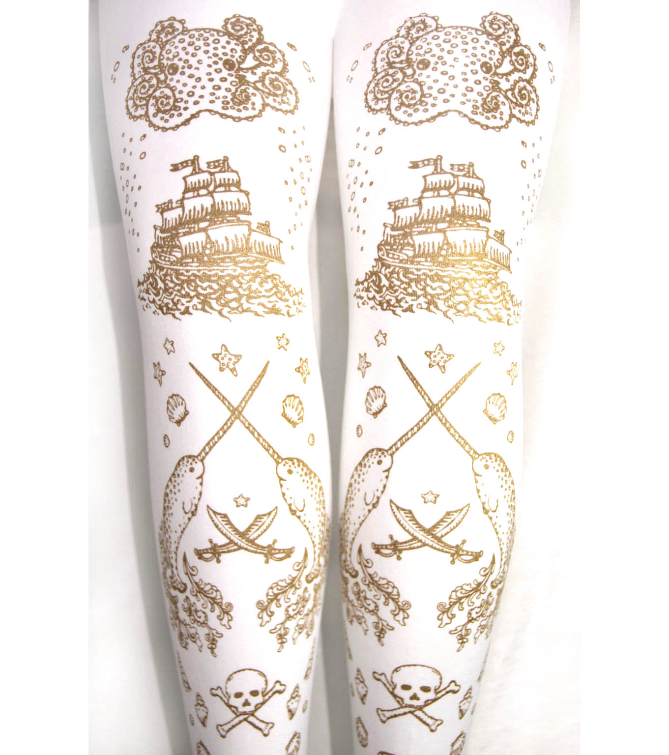 d4ca040292c Narwhal Printed Tights Gold on White Pirate Tattoo Print Sailor Lolita
