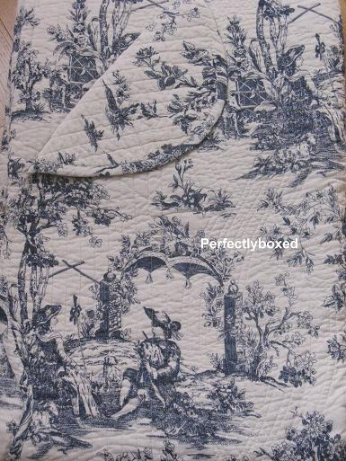 quilt toile de jouy blue ancienne double. Black Bedroom Furniture Sets. Home Design Ideas