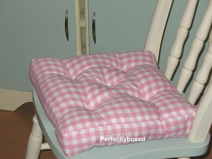Seat Pad Pink Gingham Check Retro Kitchen Garden Farmhouse