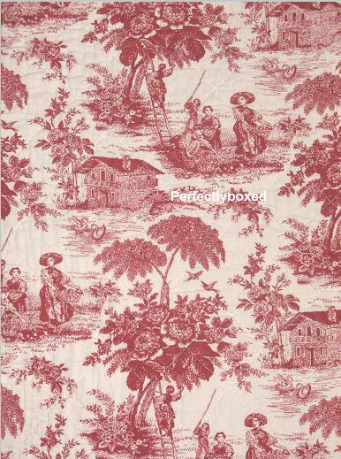 red toile de jouy quilt osprey. Black Bedroom Furniture Sets. Home Design Ideas