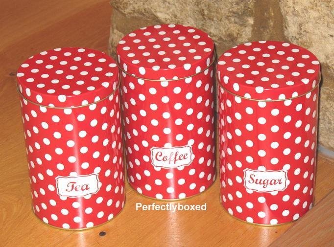 Retro Tea Coffee Sugar Tins Red Polka Dot Spot Set Of 3