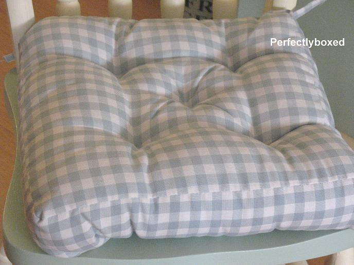 Country Chair Pads Blue Gingham Seat Pads at www.perfectlyboxed.com