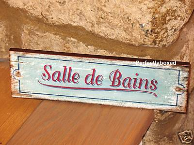 Retro signs plaques for Salle de bain door sign