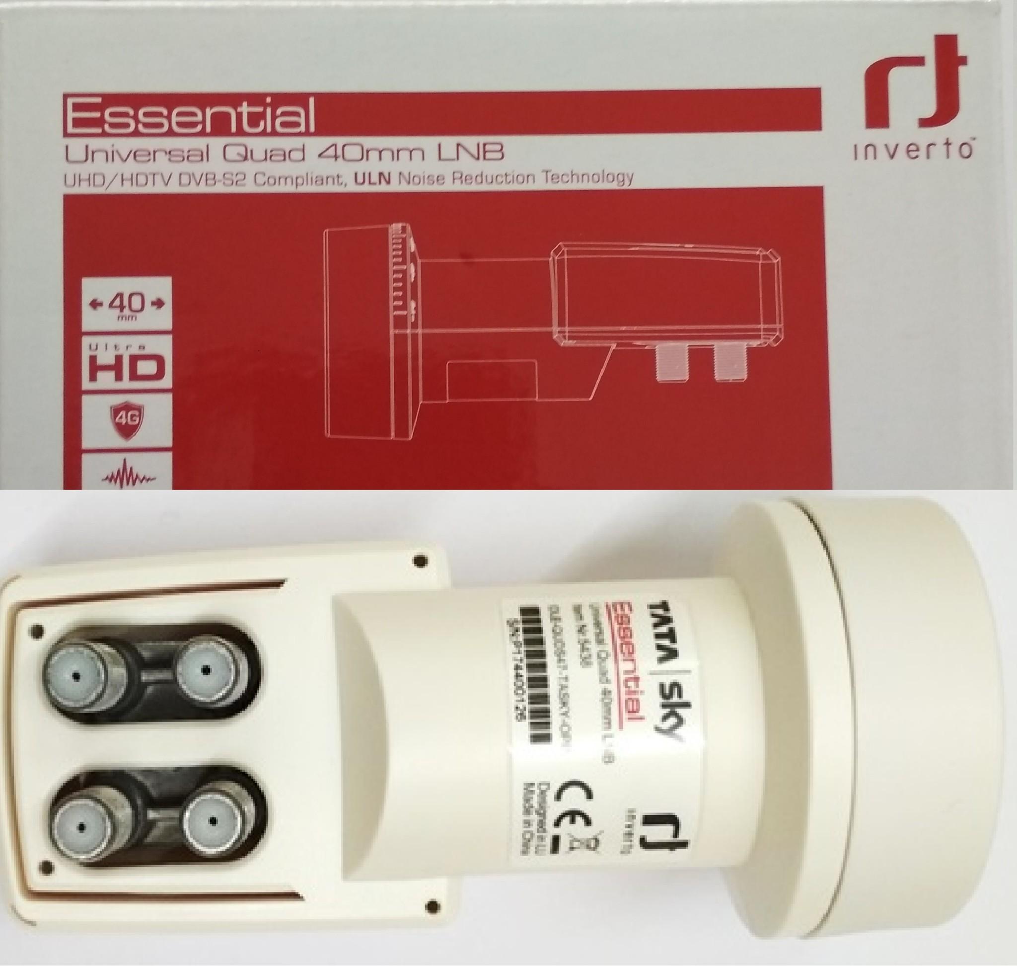 Inverto 4 Port Quad LNB Camera Dish TV Tata Sky Airtel Free to Air Videocon  Big tv
