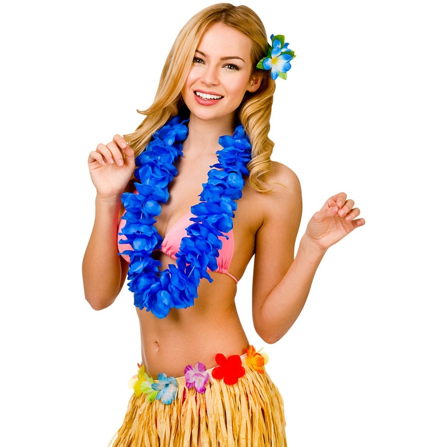Hawaiian Lei Necklace - Blue titleu003d  sc 1 st  The York Fancy Dress Shop & Hawaiian Lei Necklace - Blue
