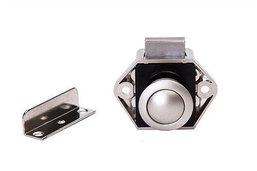 Mini Push Button Door Lock Nickel on Nickel