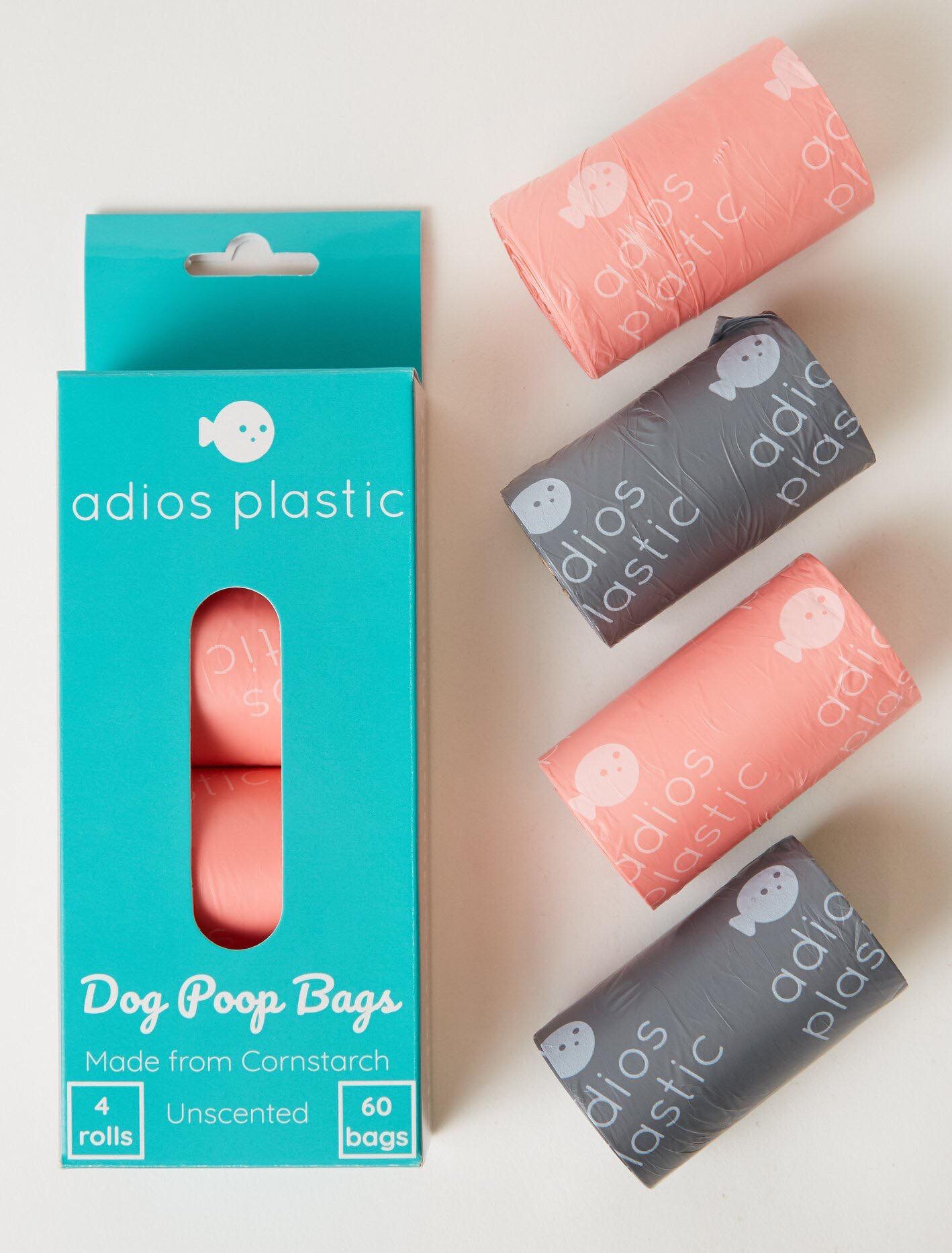 Adios Plastic Corn Starch dog poop bags Grey or Pink 60 bags