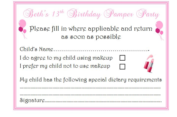 12 X Girls Pamper Party Invitations