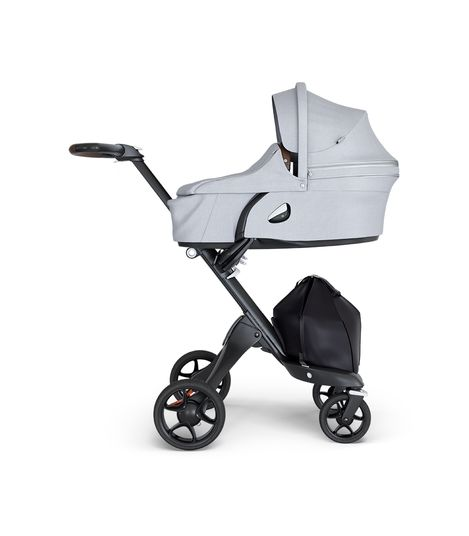 Stokke Xplory 6 Baby Stroller Silver Chassis Black Handle GREY or BLACK Melange