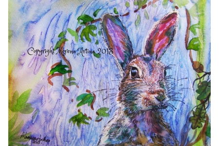 Hare with Oak and Ivy print