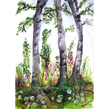 SOLD SOLD Original Painting 'Summer Silver Birch Trees' Watercolour and Ink