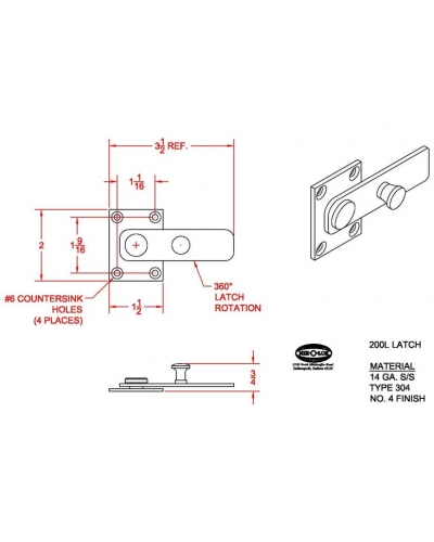 200L latch only w/ hardware